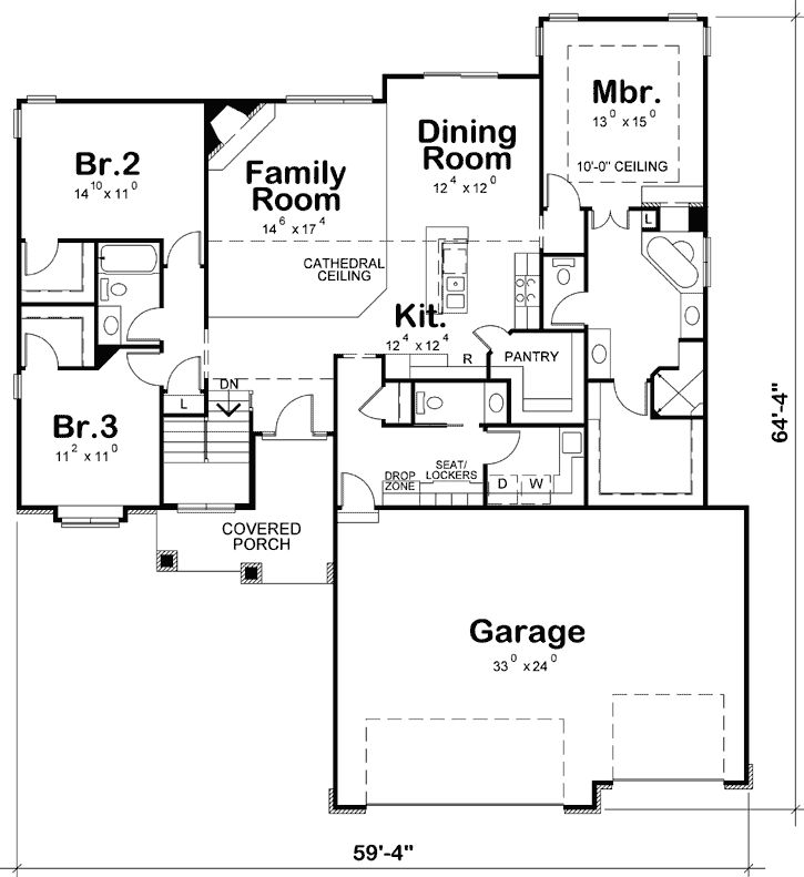 French Country House Plan 3 Bedrooms 2 Bath 1945 Sq Ft