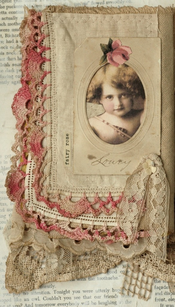 Mixed media fabric collage book of girls and flowers