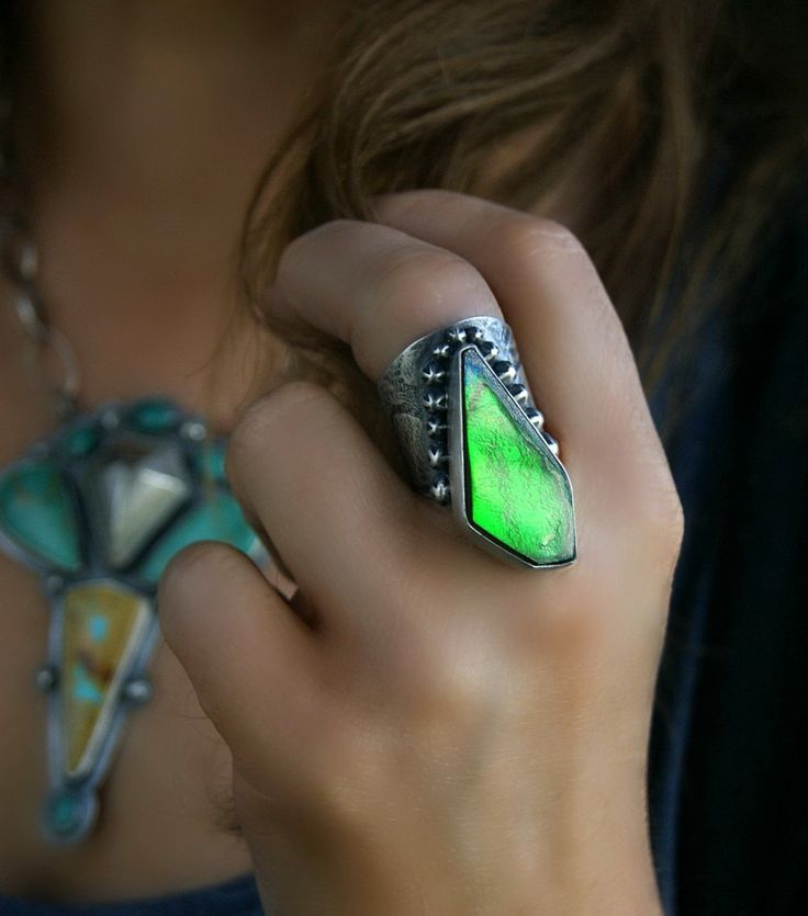 The Glow of Nature - Ammolite Sterling Silver Ring by MercuryOrchid on Etsy