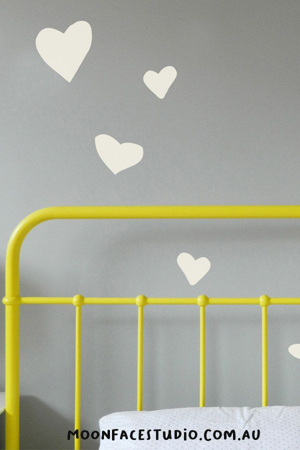 Great bedroom stickers. These hand drawn heart wall decals look fab in any kid's bedroom. #hearts #wallstickers #decor