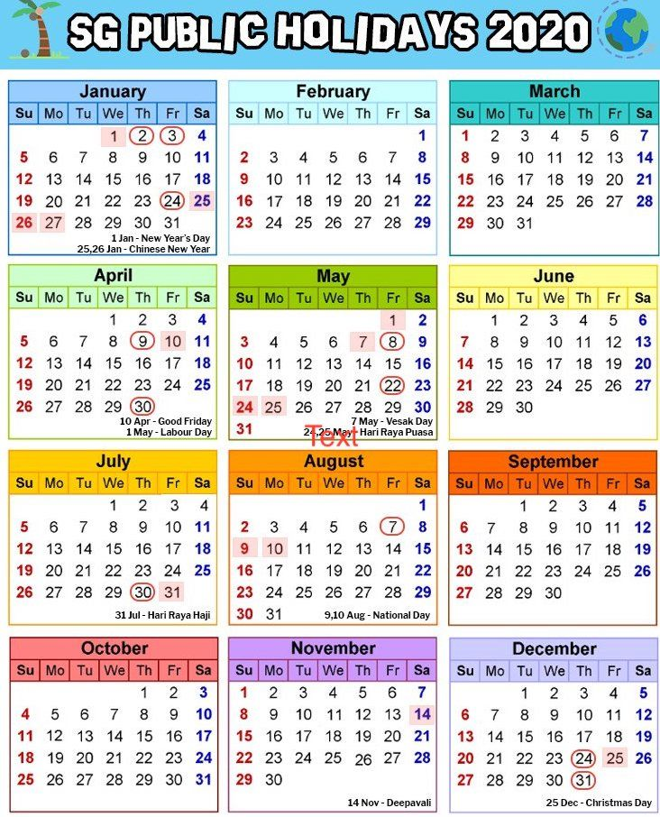 Chinese New Year Holiday 2020.Free Blank Printable Singapore Public Holidays 2020 Calendar