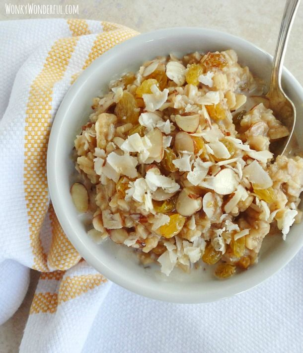 Maple Brown Rice Breakfast Bowl - gluten free - WonkyWonderful.com #healthy