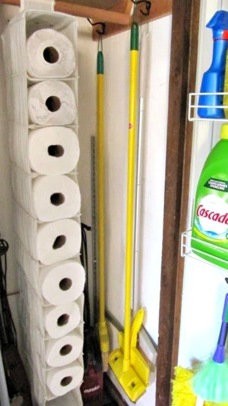 Use a Shoe Organizer to store Paper Towels in