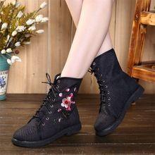Bloem Geborduurd Vrouwen Canvas Korte Enkel Moto Laarzen Mode Dames Lace-up Herfst Winter Platte Laarsjes Schoenen Boten Mujer(China)