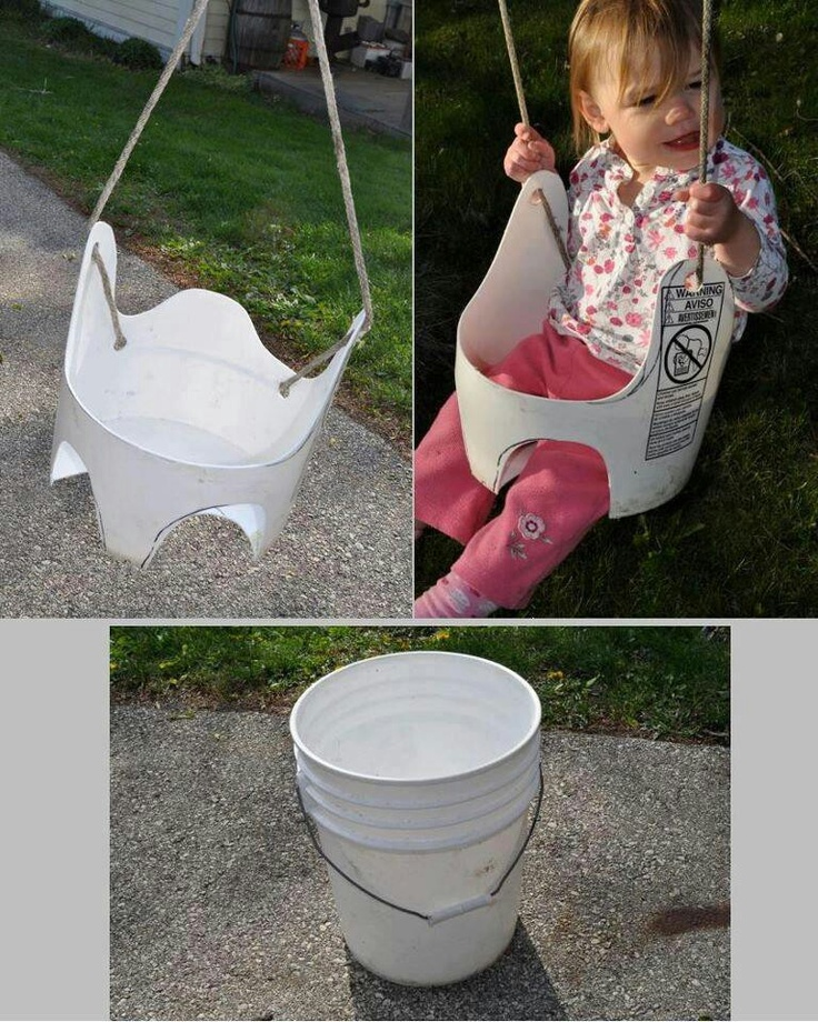 Good idea!!  Small swing for the kids in the back yard..