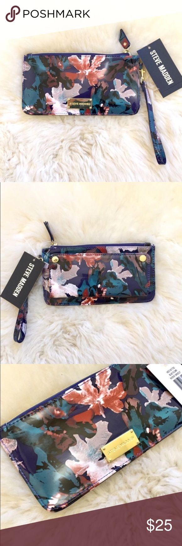 """Steve Madden Textured Floral Wristlet New With Tags- shiny floral wristlet with detachable wrist strap, top zip closure, exterior with front double magnetic flap with bill slot, clear ID slot and 11 card slots, interior with 4 card slots. Height 4 3/8, Width 8 1/4, Wrist Strap Length 7"""". PVC Exterior, Polyester Lining. Steve Madden Bags Clutches & Wristlets"""