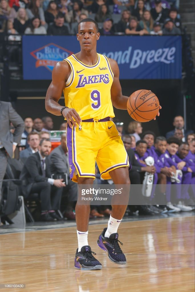 8d25b132b11 Rajon Rondo of the Los Angeles Lakers handles the ball during the ...