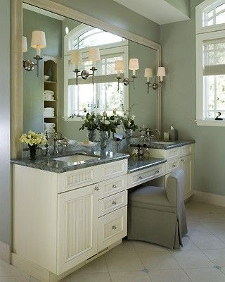Double Sink Vanity With Make Up Table For Master Bathroom.