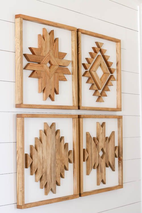 Learn how to create beautiful DIY wooden Aztec Wall Art with this easy to follow tutorial that includes printable plans and a YouTube video tutorial.