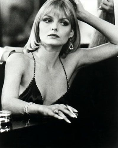 Michelle Pfeiffer in Scarface./ Just saw her in Dangerous Liasons....with Glenn Close, John Malkevich, Uma Thurman, Keanu Reeves. Great Movie.
