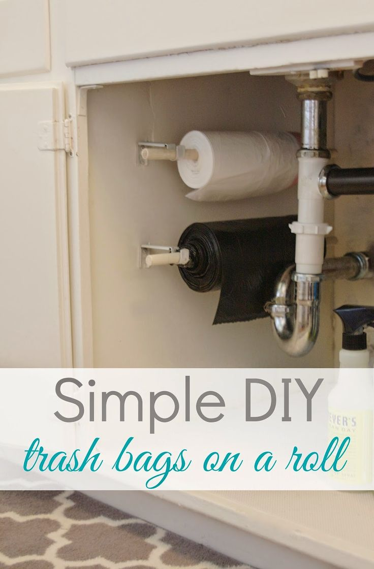 Adding a dispenser for trash bags to the side of your under sink cabinet will save space inside the cabinet — and make the bags easier to find when you need them !