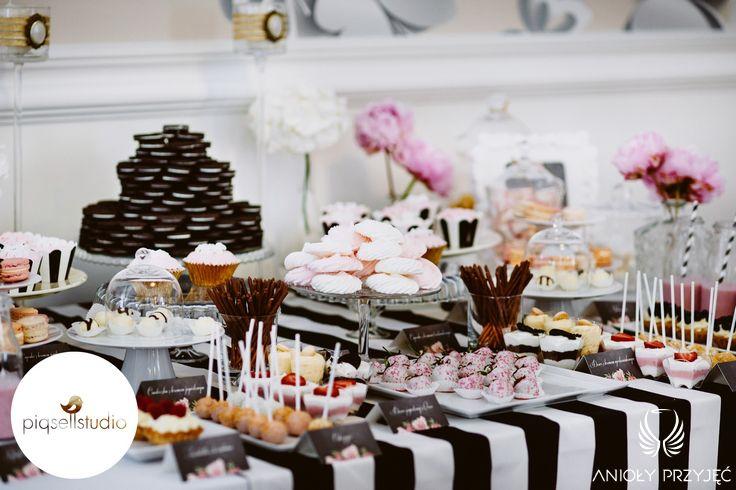 Glamour Wedding,Sweet buffet,Sweet table decoration / Wesele galmour,Słodki stół,Anioły Przyjęć