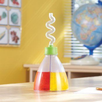 Carry out colour mixing experiments with this plastic flask which is divided into 2 – add a different colour of liquid to each chamber and then pour to mix the colours.