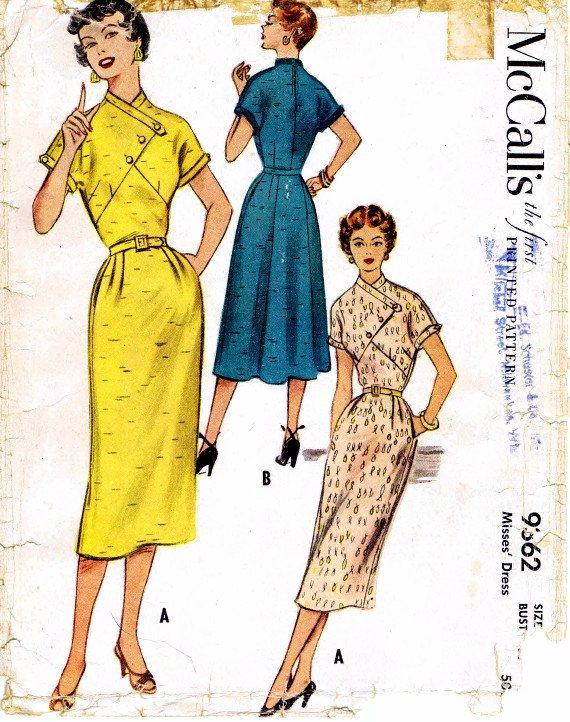 1950s Asymmetrical Dress Fauxlero Kimono Sleeves by patternshop, $27.99