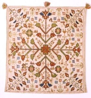 Greek embroidery Cushion with stylised floral and animal themes embroidered in cross-stitch. From Corfu in the Ionian Islands, 18th c. 0.54x0.50 m.