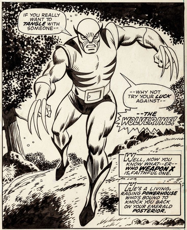 Herb Trimpe and Jack Abel's original art from Wolverine's first appearance, in Incredible Hulk #180.