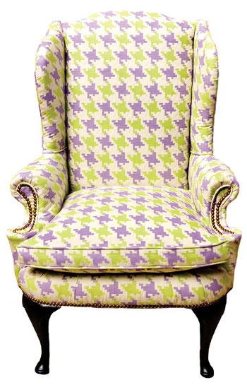 Captivating Bright Houndstooth Print Chair   Cute For A Nursery!