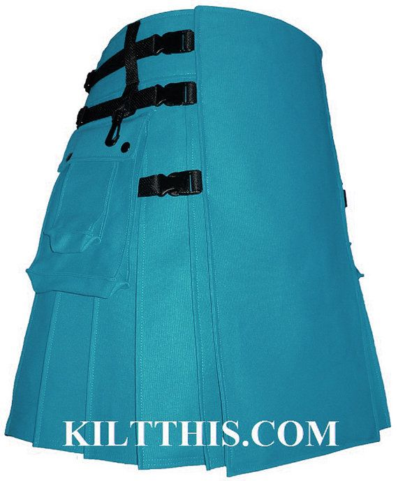 This is the turquoise duck canvas Hiker utility kilt in the signature Kilt This design. The only kilt made with interchangeable parts. You can interchange the front apron with any of the other Kilt This Hiker aprons, they are all interchangeable (in the same design). This kilt comes with 2 large cargo pockets, 3 compartments each. Durable, each pleat is sewn on both the inside and outside to maintain its form. Large enough to carry most items you would need for a hike. Perfect for camping or…