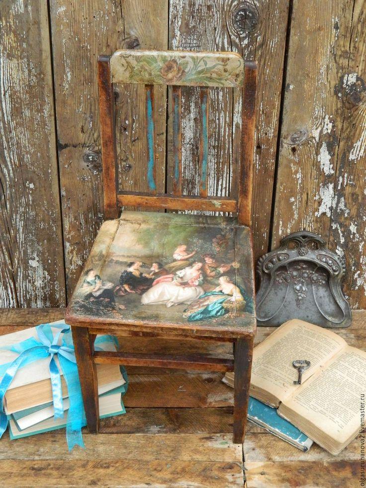 """Купить Стульчик """"Королевский"""" - бирюзовый, стул, стульчик, детская, королевский трон, коллекционный, коллекционирование, дерево"""