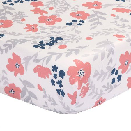 The Peanut Shell Baby Crib Fitted Sheet - Coral Pink, Navy Blue and Grey Floral Print - 100% Cotton Sateen, Fits Standard 52 by 28 Inch Mattress - Walmart.com