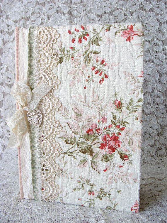 Shabby Fabric Covered Journal Diary Notebook Fabric by ShabbySoul