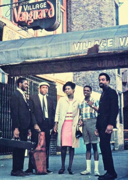 Pharoah Sanders, John Coltrane, Alice Coltrane, Jimmy Garrison and Rashied Ali outside the Village Vanguard, New York, May 28, 1966.