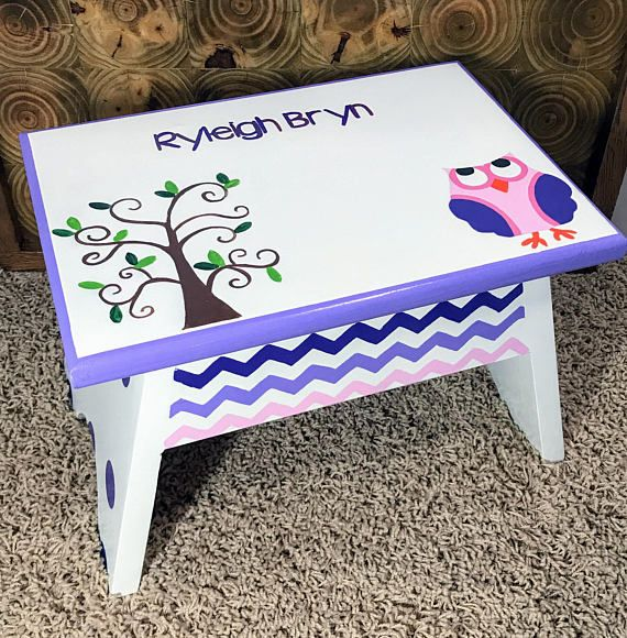 Purple and Pink Owl Footstool  Owl Step Stool  Nursery