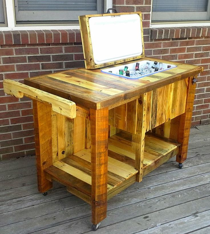 Hand Built Reclaimed Wood Bar Cart With Built In Cooler By Customrustic89  On Etsy