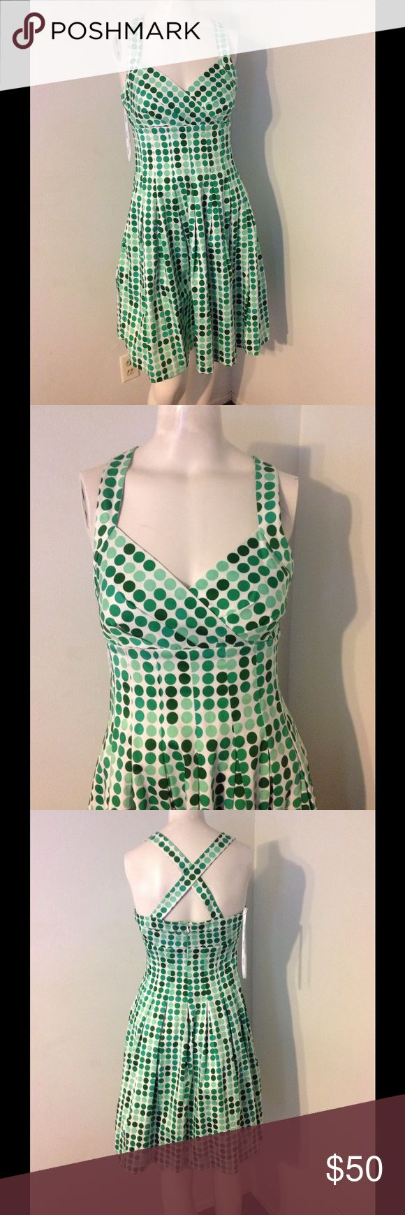 Calvin Klein Green Polka Dot Retro Style Dress 2 Super cute dress! Calvin Klein retro style fit and flare. Green polka dot cotton/spandex so it has some stretch. Brand new with tags. Calvin Klein Dresses
