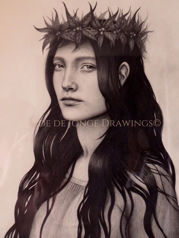"""""""Skognymfe"""" (Forest Nymph). Pencil on paper. 2014."""