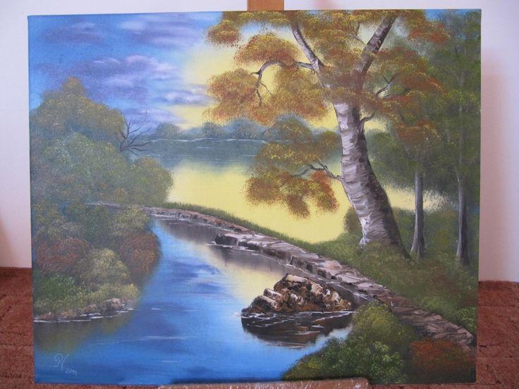 Podzim olej - Autumn oil painting