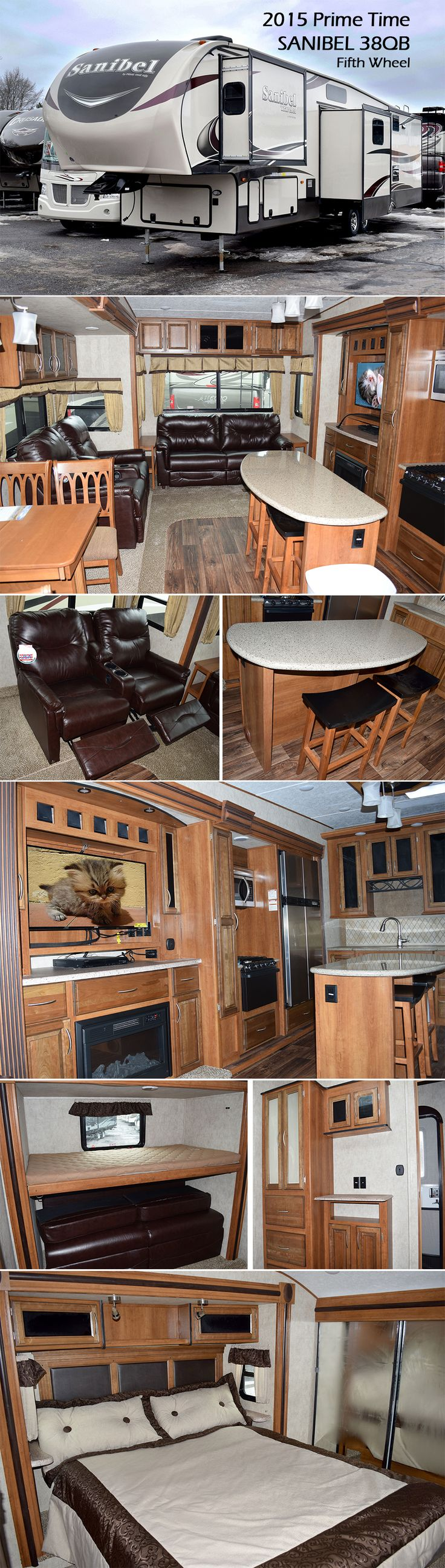 2015 Sanibel 38QB Fifth Wheel by Prime Time As you enter the fifth wheel, straight in front of you is a bedroom. Along one side of the room there is a slide with a flip up bunk above a sleep & play sofa. Across from the sofa you will find an entertainment center and a wardrobe. In the main living area there is theater seating, a hide-a-bed sofa and an entertainment center with a cozy fireplace. In the middle of the large kitchen there is an island with bar stools.