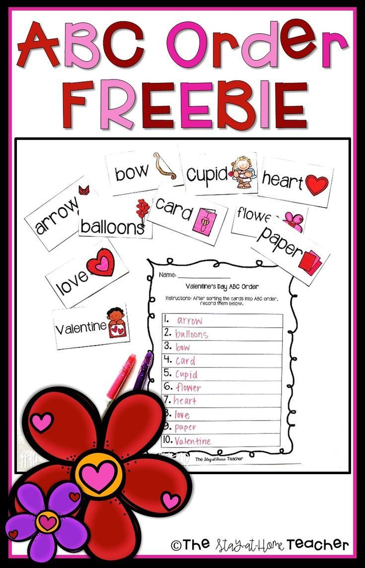 This Abc Order Freebie Is Perfect For Morning Work Centers Small Group Instruction And More Included Are 10 Vale Abc Order Valentine Words Kindergarten Abc [ 1144 x 735 Pixel ]
