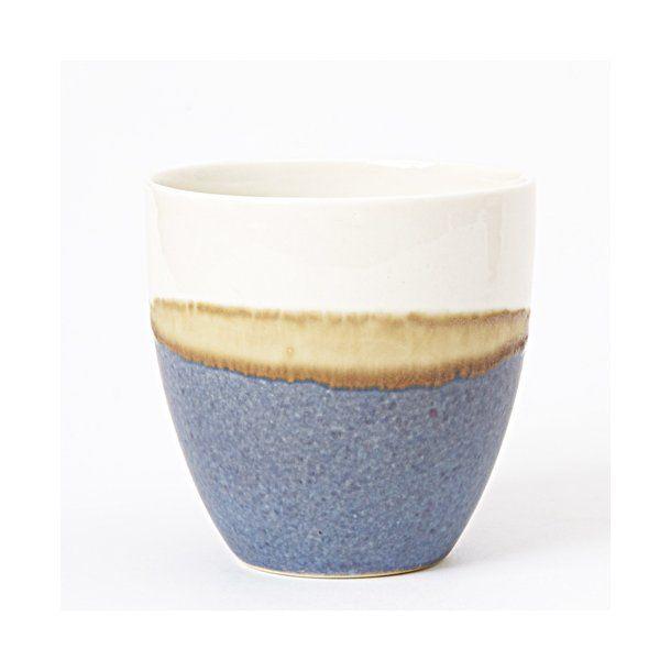 Wauw Design - Keramik håndlavet kop pastello, blå/hvid