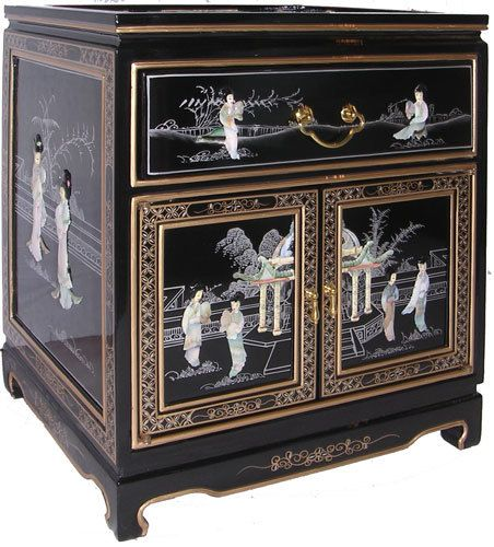 Oriental Furnishings   Oriental Mahogany End Table In Black Lacquer With  Mother Of Pearl Inlay