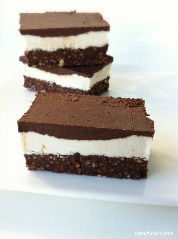 Raw Nanaimo Bars. * This recipe is vegan, gluten free, dairy free, raw, grain free, no-bake, chocolately and delicious! http://www.damyhealth.com/2012/10/raw-nanaimo-bars/
