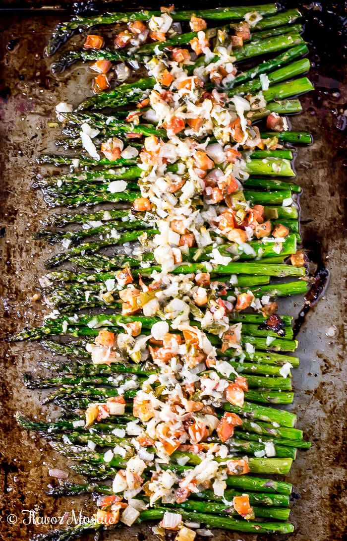 Asiago Bruschetta Roasted Asparagus, with tomatoes, garlic, onions, and asiago cheese, makes a healthy gourmet side dish for a weeknight or holiday dinner. ~ http://FlavorMosaic.com