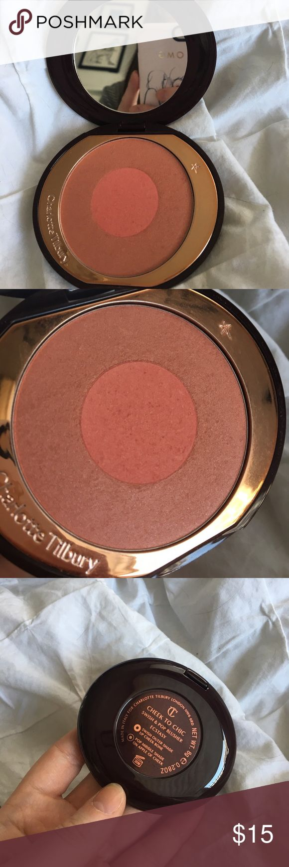 Charlotte Tillbury Blush Charlotte Tillbury swish and pop blusher in Ecstacy. Used. The packaging is in great condition. Charlotte Tillbury  Makeup Blush