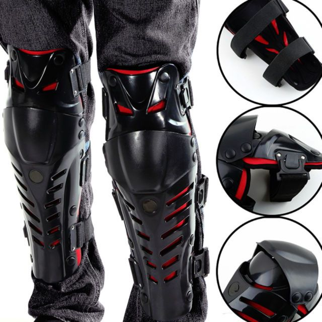 MOTORCYCLE MOTOCROSS BIKE GUARD PROTECTOR ADULT KNEE SHIN ARMOR PADS RED BLACK