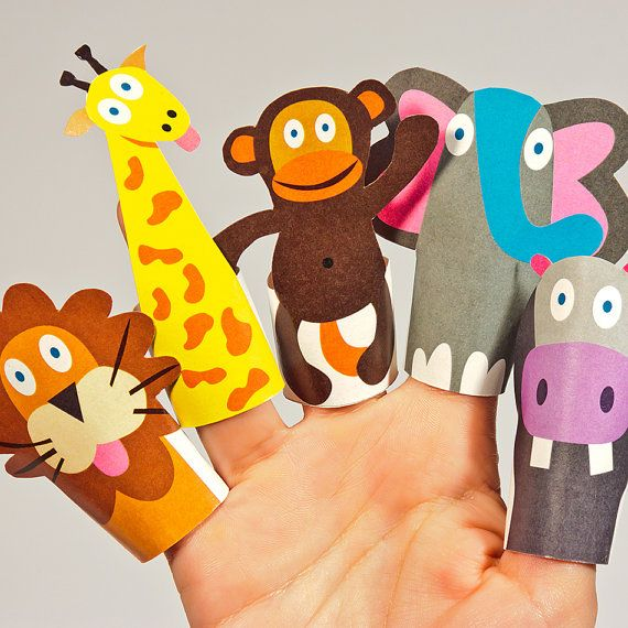 JUNGLE Animals Paper Finger Puppets  Printable PDF Toy  by pukaca. , via Etsy.
