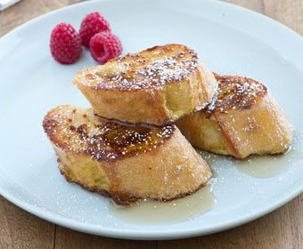 French Baguette French Toast. Delicious use of baguette that seems to have turned into a baseball bat overnight!!