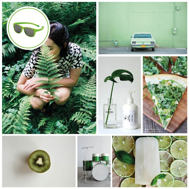 MONDAY MOODBOARD; Great Green. Focus: Fresh green botanical spring colors. Ice-Watch Eyewear model: Green Pulse