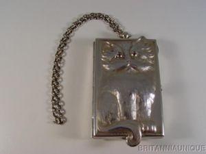 FIGURAL CAT Silver Ruby Eyes Vanity Compact KUPPENHEIM