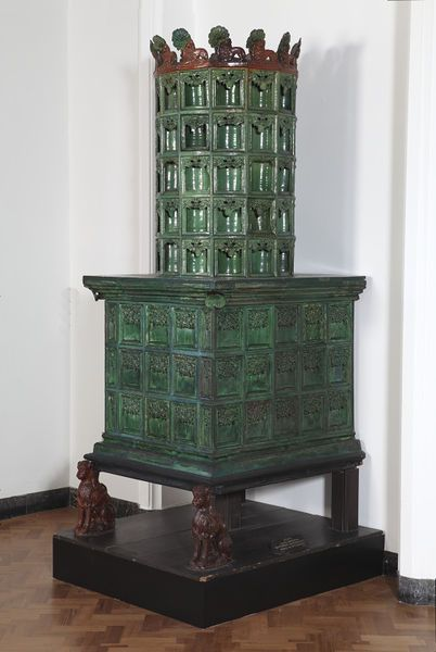 Stove - Place of origin :    Ravensburg, Germany (made) -  Date : ca. 1450 (made) -     Artist/Maker : unknown - Materials and Techniques : Lead-glazed earthenware stove tiles | V&A Collections