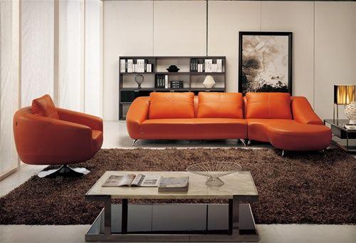 Naples Orange Leather Sectional Set | Living Room Sectional Sofas| contemporary sectionals orange