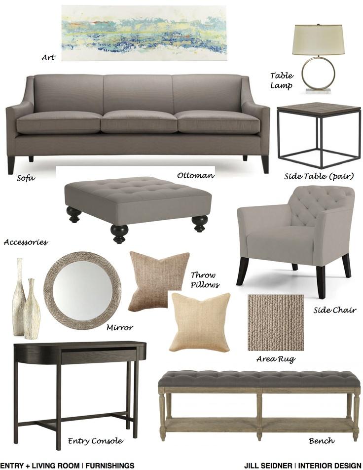 Fullerton, CA Residence Living Room Furnishings Concept Board