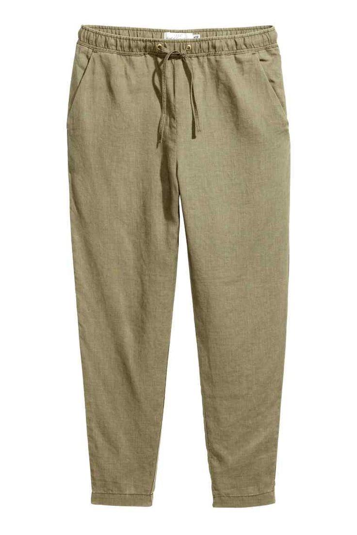 Pantalon jogger en lin - Vert kaki - FEMME | H&M FR