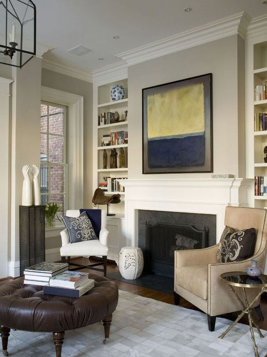 Edgecomb Gray W Navy Gold Tan Living RoomsLiving Room