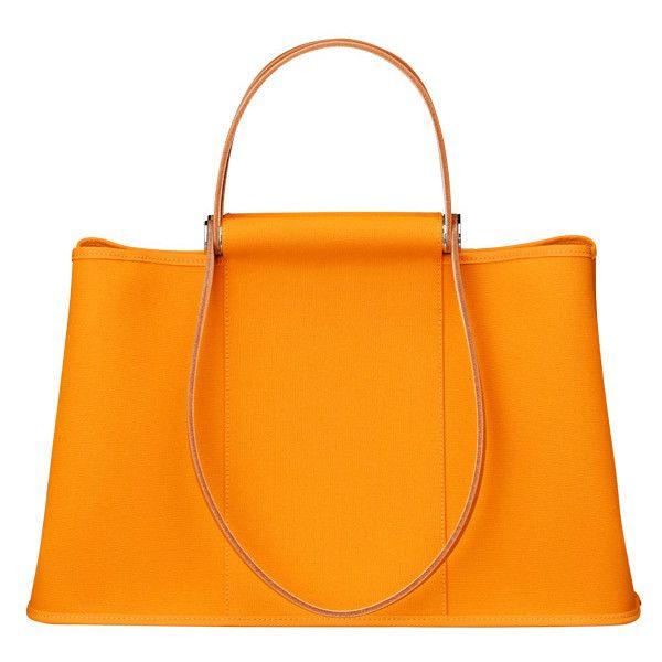 Hermès Cabag 39 Twist bag ($1,525) ❤ liked on Polyvore featuring bags, handbags, purses, purse bag, orange laptop bag, hermès, overnight bag and laptop hand bag