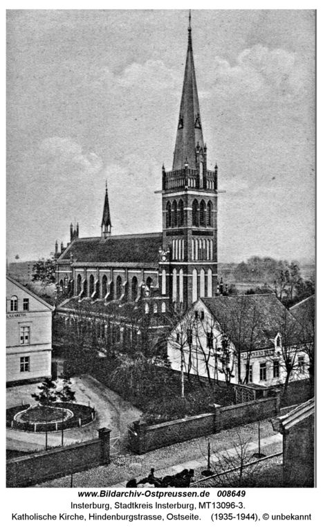 Insterburg, Katholische Kirche, Hindenburgstraße, Ostseite